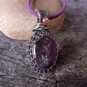 Purple - ametiszt ezüst medál bőr lánccal (Mandaladrotekszer) - Meska.hu