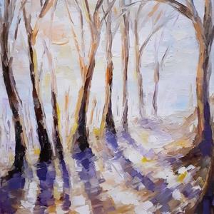 """Január, Művészet, Festmény, Olajfestmény, Festészet, Olajfestmény:\n\""""Január\""""\n(25x30 cm, olaj, feszített vászon)\n2020.\n\nFestőkéssel készült., Meska"""