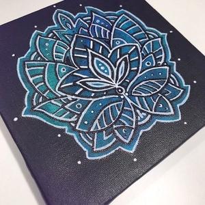 15x15cm Mandala festmény, Művészet, Festmény, Akril, Festészet, Fotó, grafika, rajz, illusztráció, Akrill és lakk felhasználásával készült mandala mely szép dísze lehet otthonodnak, de ajándéknak is ..., Meska