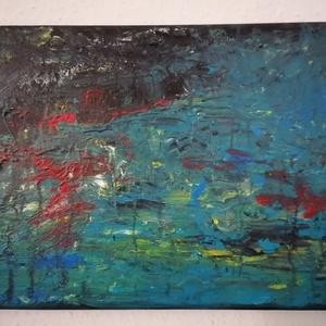 Vihar után - Absztrakt festmény, Művészet, Festmény, Akril, Festészet, Abszrrakt akrill festmény 41x27cm-es méretben. Feszített vászonra készült és keret nélkül kínálom..., Meska