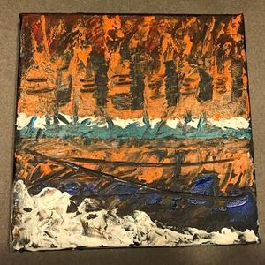 Partok - absztrakt festmény, Művészet, Festmény, Akril, Festészet, Akrill festmény 20x20cm-es méretben. Feszített vászonra készült és keret nélkül kínálom, Meska