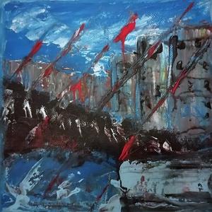 Oldavás - absztrakt festmény, Művészet, Festmény, Akril, Festészet, akrill festmény 20x20cm-es méretben. Feszített vászonra készült és keret nélkül kínálom, Meska