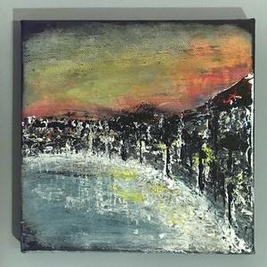 Éjjel az öbölnél - Absztrakt festmény, Művészet, Festmény, Akril, Festészet, Akrill festmény 20x20cm-es méretben. Festített vászonra készült és keret nélkül kínálom, Meska