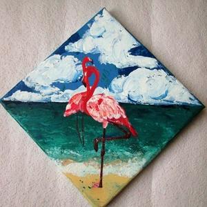 Flamingók - akril festmény, Otthon & lakás, Képzőművészet, Dekoráció, Festmény, Akril, Kép, Dísz, Festészet, 20x20 cm, akril festmény vásznon\n, Meska