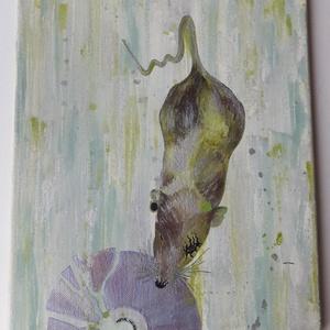 """Metálpatkány, Otthon & lakás, Dekoráció, Dísz, Képzőművészet, Festmény, Napi festmény, kép, Festészet, 25x30 cm, akril festmény vásznon.\n\nMetál zenei stílust kedvelő patkány portréja.\n\""""Metal never die\"""" f..., Meska"""