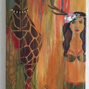Házi kedvenc, Művészet, Festmény, Akril, Festészet, Zsiráfkedvelőknek és szelidítőknek ideális választás. \nAkril festmény 30x40 cm-es vásznon. ..., Meska