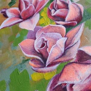Magnóliák , Művészet, Festmény, Akril, Festészet, 30 cm átmérőjű vászonra festett akril kép.\nA magnóliák részletgazdag kidolgozását és romantikus szín..., Meska