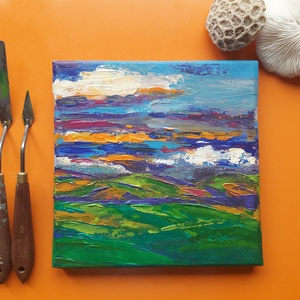 Lankák, Művészet, Festmény, Akril, Festészet, Akril festmény 20x20 cm-es vásznon.\nLankák és völgyek, felhők és rétek absztrakt játéka.\nAz Ég és a ..., Meska