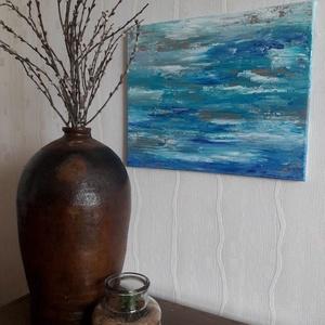 Hangulatok és Hullámok, Művészet, Festmény, Akril, Festészet, Akril festmény 50x40 cm-es vásznon.\nStruktúrpasztával és festőkéssel készített absztrakt kép.\n\nAmiko..., Meska