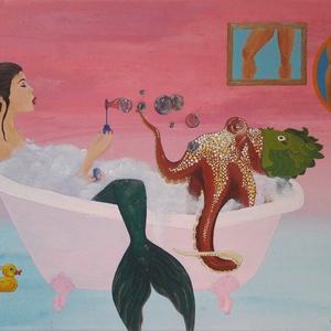 Lábfétis, Művészet, Festmény, Akril, Festészet, Akril festmény 40x30 cm-es vásznon.\nHalacskás sapkát viselő polippal habfürdőző sellőlány.\n\nA 2019-e..., Meska