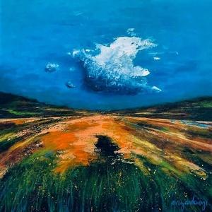 Felhővirág, Művészet, Festmény, Akril, Festészet, 70x70 cm-es absztrakt tájkép. Akril és olajpasztell vásznon., Meska