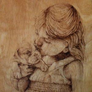 Kislány kutyával égetett kép, Lakberendezés, Otthon & lakás, Falikép, Dekoráció, Kép, Famegmunkálás, Mindenmás, 4mm-es rétegelt lemezre, pirográffal készítettem, vékony lazúrral vontam be.\nHátulján bőrakasztó tal..., Meska