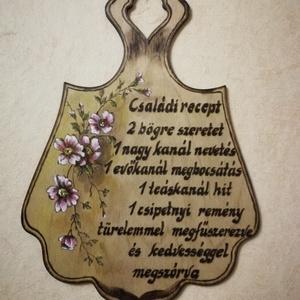 Virágos Vágódeszka, Otthon & lakás, Dekoráció, Dísz, Gravírozás, pirográfia, Festészet, Vágódeszka alakú falidísz, melyet kézzel pirográf technikával készítettem, majd akril festèkkel kieg..., Meska