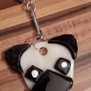 Kutya fejes táska dísz, Ékszer, Egyéb, Kulcstartó, táskadísz, Táska, Divat & Szépség, Ékszerkészítés, Üvegművészet, Eb  kedvelőknek, üvegolvasztással készült táskadísz (esetleg kulcstaró), melyhez spektrum üveget has..., Meska