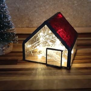 Üveg házikó , Karácsony, Karácsonyi lakásdekoráció, Karácsonyi falu, házikó, Üvegművészet, Meska