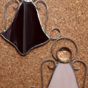 Angyalok párban , Karácsony & Mikulás, Karácsonyi dekoráció, Üvegművészet, Rézfóliás (tiffany) technikával készített karácsonyi ablak, ajtó dísz.\nMérete 9x6 cm, glória nélkül...., Meska