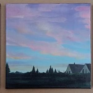 Hajnal a faluszélén, Művészet, Festmény, Akril, Festészet, Akril festmény. 3x 30*30cm. vászon. lakkozva.\n3 darabból álló tájkép. A falu határában ébredező háza..., Meska