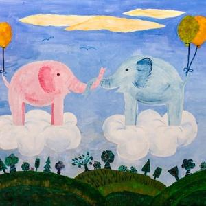 Felhőn repülő elefántok, sötétben világító akrilfestmény, Otthon & Lakás, Dekoráció, Kép & Falikép, Festészet, 60x50 cm sötétben világító akrilfestmény gyerekszobába. Feszített vászonra készült, nem szükséges ke..., Meska