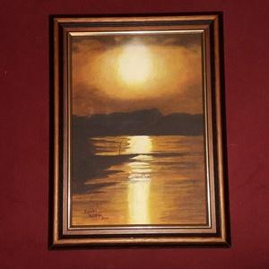 Naplemente (akril, vászon), Otthon & lakás, Képzőművészet, Festmény, Akril, Festészet, Akril festmény\n27 x 36 cm\nkerettel együtt.\n Egy fénykép adta az inspirációt, amelyben a színek tetsz..., Meska