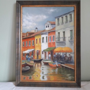 Velencei hangulat, Olajfestmény, Festmény, Művészet, Festészet, Olajfestmény kerettel együtt  53 x 71 cm. A kép személyes élményből fakad. A mediterrán élénk színek..., Meska