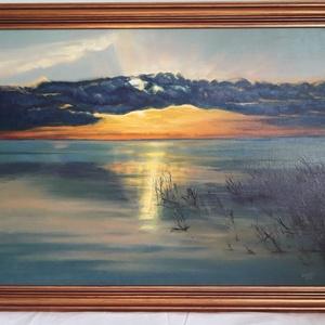 Naplemente, Művészet, Festmény, Olajfestmény, Festészet, 59 x 80 cm olajfestmény kerettel együtt. A képen dominál a kék és a narancssárga,\namelyek jól kiegés..., Meska
