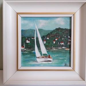 Balatoni nyár, Otthon & lakás, Képzőművészet, Festmény, Festészet, 20 x 19,5 cm olajfestmény, vászon faroston. A téma mindig aktuális, még télen is jó ránézni, mert vi..., Meska