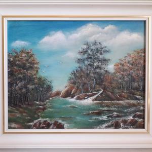 Őszi táj, Olajfestmény, Festmény, Művészet, Festészet, 38 x 31 cm olajfestmény farostlemezen, kerettel ellátva. Fotó alapján készült a festmény,\na színek a..., Meska