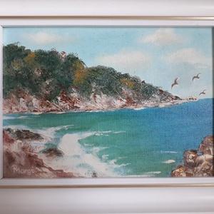 Adriai nyár, Olajfestmény, Festmény, Művészet, Festészet,  A kép 29 x 23 cm olajfestmény, vászon kartonon, kerettel ellátva. Személyes élmény alapján készült ..., Meska