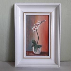 Fehér orchidea, Otthon & lakás, Képzőművészet, Festmény, Olajfestmény, Festészet, 16 x 22,5 cm olajfestmény farostlemezen, kerettel ellátva. Az orchidea mivel sokáig virágzik, ezért ..., Meska