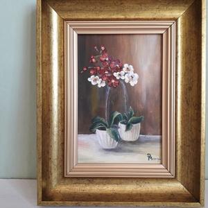 Orchideák, Művészet, Olajfestmény, Festmény, Festészet, Meska