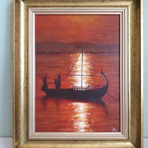Hajó naplementében - Meska.hu