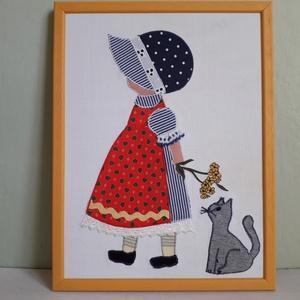 Kislány cicával, Kép & Falikép, Dekoráció, Otthon & Lakás, Varrás, 26 cm x 34 cm varrott keretezett kép gyerekszobába. Nagyon életszerű, plasztikus kép a különböző tex..., Meska