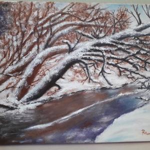 Téli erdő patakkal, Művészet, Festmény, Olajfestmény, Festészet, 29 x 25 cm olajfestmény vásznon. A fák ráhajolnak a félig befagyott patakra, az érintetlen erdőt, te..., Meska