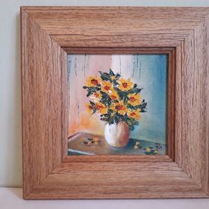 Váza sárga virágcsokorral , Művészet, Festmény, Olajfestmény, Festészet, 22 x 22 cm olajfestmény vásznon. ( A méret kerettel együtt értendő)\nMűfaja:  Csendélet\nA kép más tec..., Meska