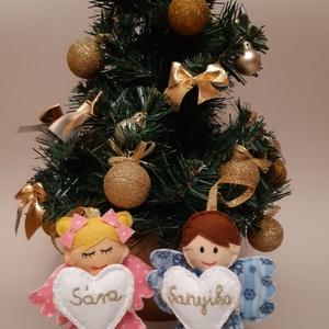Egyedi névvel ellátott karácsonyi filc angyalka, Karácsonyfadísz, Karácsony & Mikulás, Otthon & Lakás, Varrás, Ha kisebb, de személyre szabott ajándékott keresel, szeretettel ajánlom kézzel készült filc angyalká..., Meska