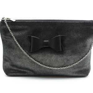 NARA táska fekete, Vállon átvethető táska, Kézitáska & válltáska, Táska & Tok, Bőrművesség, Valódi marhabőr női borítéktáska masni díszítéssel. Bélése fekete pamutvászonból készült belső húzóz..., Meska