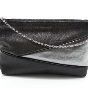 NINA táska fekete, Vállon átvethető táska, Kézitáska & válltáska, Táska & Tok, Bőrművesség, Valódi marhabőr női borítéktáska lecsatolható ezüst színű lánc fogóval. Bélése fekete pamutvászonból..., Meska