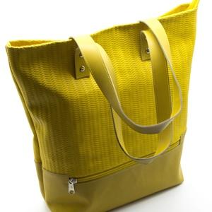 GERDA shopper bag mustársárga, Táska & Tok, Bevásárlás & Shopper táska, Bőrművesség, Valódi marhabőr női bevásárló táska húzózáras záródással. Bélése pamutvászonból készült egy húzózára..., Meska