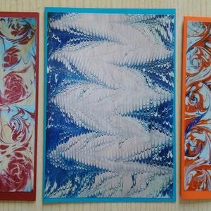 3db kinyitható képeslap saját fotóval - Ebru, Képzőművészet, Otthon & lakás, Festmény, Naptár, képeslap, album, Képeslap, levélpapír, Festészet, Papírművészet, Az ebru török vízfestés. Az ezzel a technikával készült képeim fotói szerepelnek ezeken a kinyitható..., Meska