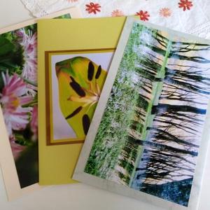 3db kinyitható képeslap saját fotóval - természetfotók, Képzőművészet, Otthon & lakás, Fotográfia, Hímzés, Saját képeimet ragasztotta, színes kartonra, és készítettem belőlük szép és egyedi képeslapokat azok..., Meska