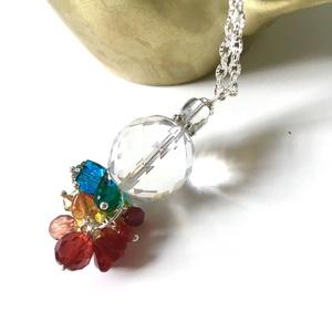 Szivárvány - nyaklánc, kék-zöld-sárga-narancs-piros  üvegből - Meska.hu