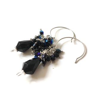 Winterdream - fekete üveggyöngyös fülbevaló  - ékszer - fülbevaló - lógó fülbevaló - Meska.hu