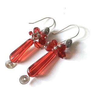 Piripiri - vörös üveggyöngyös fülbevaló  - Meska.hu