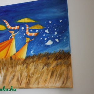 Pillangók a réten- akril festmény 40x40, Akril, Festmény, Művészet, Festészet, Gyerekszobába való,vidám, színes...Pillangókat kerget anya és lánya a réten. Hangulata van. Az egyik..., Meska