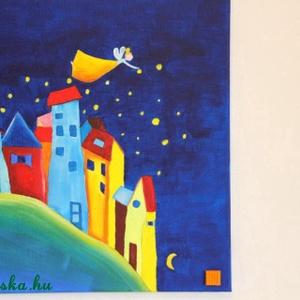 Éjszakai tündér- akril festmény gyerekszobába, Akril, Festmény, Művészet, Festészet, Gyerekszobába való, vidám, színes kép...\n40x40cm akrilfestékkel feszített vászonra készített kép.\nKi..., Meska
