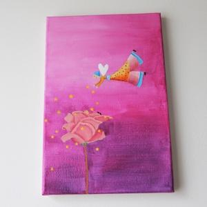 """festmény 20x30-gyerekszobába\""""rózsa\"""", Akril, Festmény, Művészet, Festészet, Igazi leány szobába való kép!\n20x30 cm, feszített vászonra akrilfestékkel készített kép.\nNincs hozzá..., Meska"""