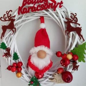 Ajtódîsz, kopogtató, vendègváró, az ajtók őre, Otthon & Lakás, Karácsony & Mikulás, Adventi koszorú, Varrás, Egyedi ajtó dîsz, kedves manó már az ajtóban várja a vendègeket. Az ajtók őre. A manó nagysága 15 cm..., Meska