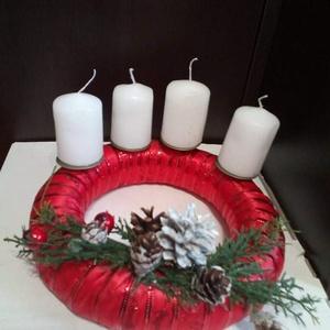 Adventi asztali dísz, Otthon & Lakás, Karácsony & Mikulás, Adventi koszorú, Varrás, Dekoratív asztali adventi koszorú. , Meska
