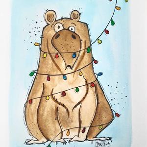 Karácsonyi medve , Otthon & lakás, Képzőművészet, Illusztráció, Grafika, Rajz, Festészet, Fotó, grafika, rajz, illusztráció, Limitált számú digitális printek különböző saját grafikákkal, szignózva.\n\n(Ha az eredeti festményt s..., Meska