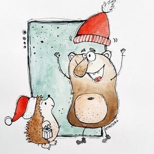 Karácsony sünivel, Mikulás, Karácsony & Mikulás, Otthon & Lakás, Festészet, Fotó, grafika, rajz, illusztráció, Limitált számú digitális printek különböző saját grafikákkal, szignózva.\n\n(Ha az eredeti festményt s..., Meska